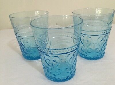 Glass Tumblers X 3 Zafferano Hand Blown Moulded Glass Italy Excellent Condition