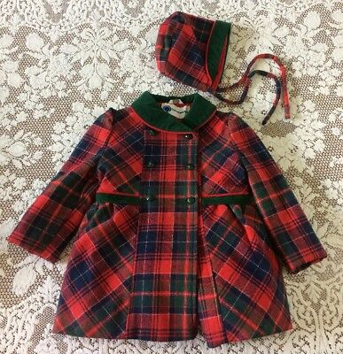 Vintage Outerworks Girls Child Red Wool Plaid Coat With Hat