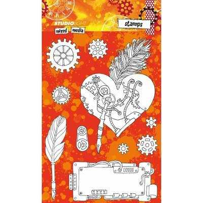 Studio Light Mixed Media Stamps - Steampunk Heart - NEW!
