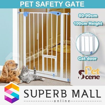 Adjustable Baby Safety Security Gate Pet Dog Stair Barrier Cat Door 100cm Tall
