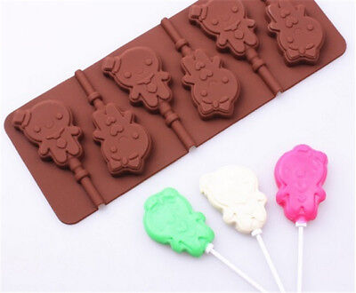 6 Hole Lollipop Silicone Fondant Cake Sugarcraft Chocolate Decor Mould DIY N7