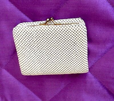 Vintage Glomesh White And Gold Tri Fold Wallet Coin Purse - Credit Card Slots