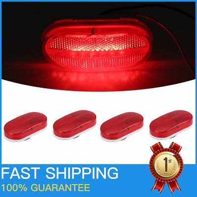 4x Red Clearance Side Marker Light 6 LED Waterproof Surface Mount RV Camper Lamp