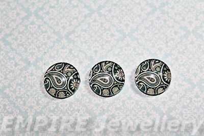 2 x Black & White Paisley Pattern 12x12mm Glass Cabochons Cameo Dome Floral