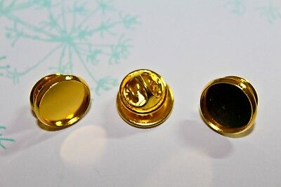4 x Bright Gold Tone Cameo Mount Brooch 12x12mm Inner Cabochon Pin Back Setting