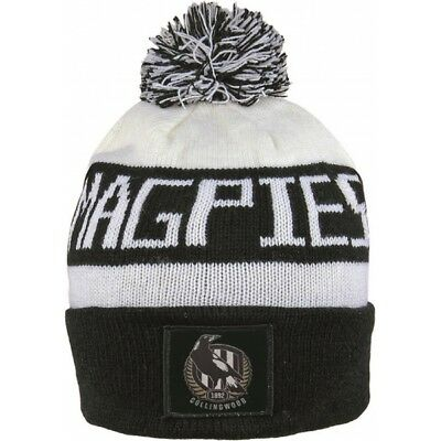 Collingwood Magpies Official AFL Traditional Bar Beanie with Pom Pom BNWT