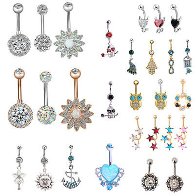 Belly Bars Navel Crystal Drop Button Ring Body Piercing Jewelry Surgical Steel