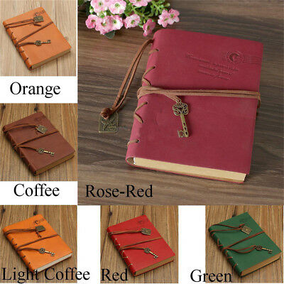 Retro Classic Leather Bound Blank Pages Travel Journal Diary Notebook Sketch  NW