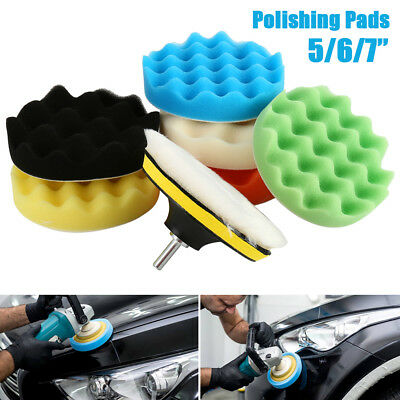 "8Pc Polishing Waxing Buffing Sponge Pads Drill Adapter Kit Car Polisher 5""/6""/7"""