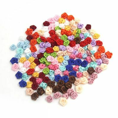 100PCS/Lot Mini Handmade Satin Rose Ribbon Rosettes Fabric Flower Appliques S2M8