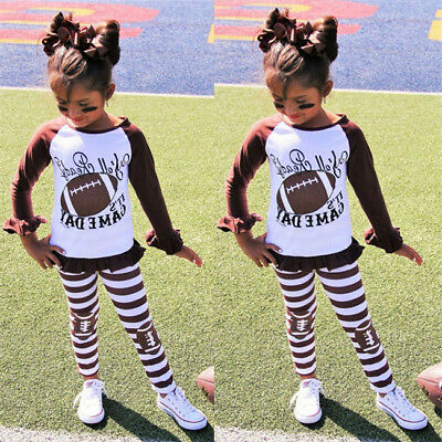 US Fashion Toddler Kids Baby Girl Dress Rugby Tops+Pants 2pcs Clothes Set Outfit