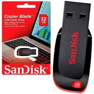 SanDisk 32GB USB 2.0 Memory Stick USB Flash Pen Drive Cruzer Blade Black