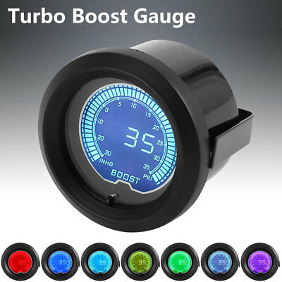 52mm 2'' Car 35 PSI Pressure Vacuum Turbo Boost Gauge Meter LED 7 Light Color