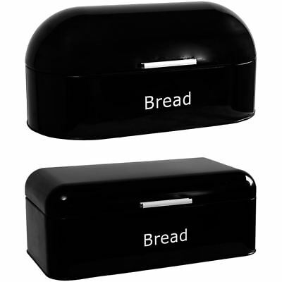 Bread Bin Retro Curved Steel Kitchen Food Storage Loaf Roll Container Box Black
