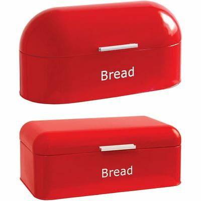 Bread Bin Retro Curved Steel Kitchen Food Storage Loaf Roll Container Box Red