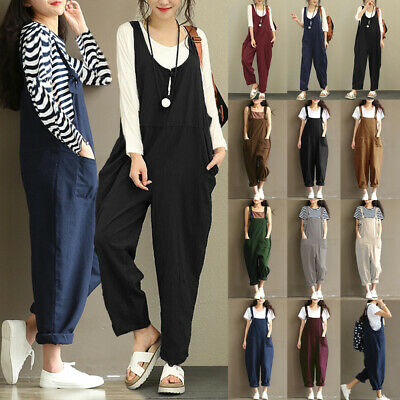 UK Womens Overalls Dungarees Holiday Loose Jumper Romper Cami Ladies Jumpsuit