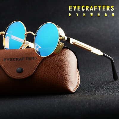 Metal Steampunk Sunglasses Men Women Fashion Round Glasses Brand Design Vintage
