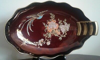 Vintage Art Deco Carlton Ware Rouge Royale Fancy Dish Bird Design With Gilding