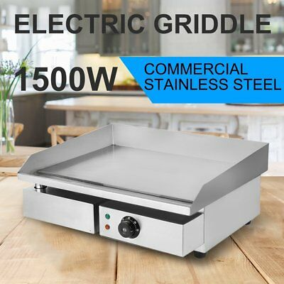 "22"" Electric Countertop Griddle Flat Top Commercial Restaurant Grill BBQ 1500W"