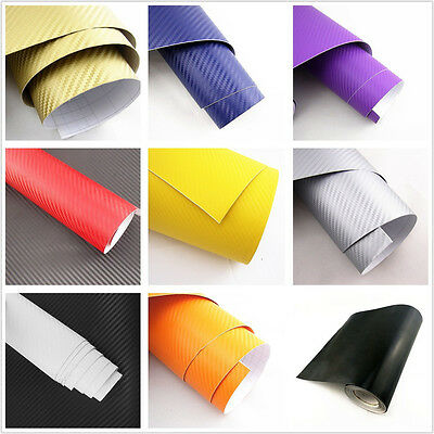 3D Carbon Fibre Vinyl Wrap Film Sticker Bubble/Air Free Multi Color