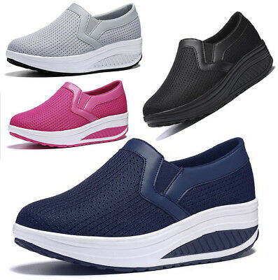 Womens Fitness Gym Slip On Walking Wedge Mesh Trainers Toning Shape Ups Loafers
