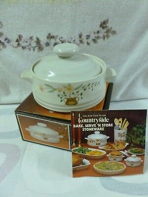 Vtg Countryside Stoneware Collection Individual Covered Casserole-Japan*BNIB