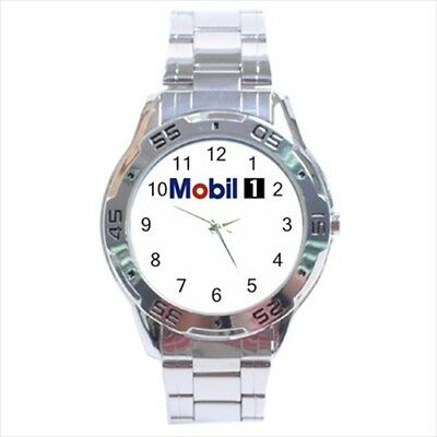 Mobil 1 Motor Oil lubrication #D01 Stainless Steel Analogue Watch