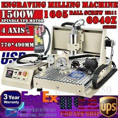 USB 4 AXIS CNC 6040Z Router Engraver Milling/Drilling Machine Desktop 1500W + RC