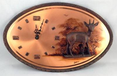 Genuine Gastone 3D Deer Stag Copper Wall Clock Africa Hand Crafted Safari Trees