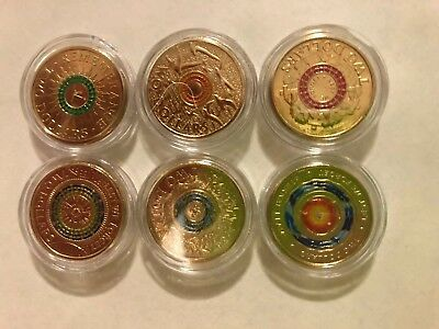 Set of 6 Coloured $2 Coins - Remembrance - ANZAC DAY - Uncirculated from RAM bag