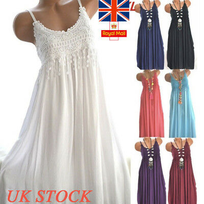 UK Womens Strappy Trim Dress Ladies Summer Holiday Round Neck Casual Sexy Tops