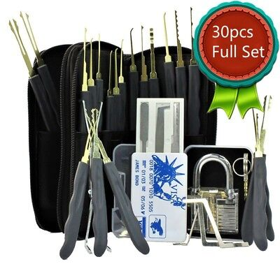30Pcs Unlocking Lock Pick Set Key Extractor Transparent Practice Padlock Tool DG