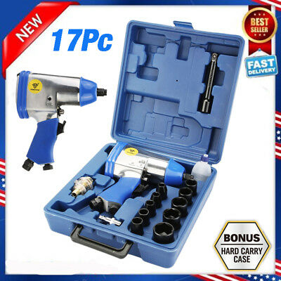 """17Pc 1/2"""" Drive Air Impact Wrench With 10 1/2 Dr Sockets 1Extension Bar Oiler My"""