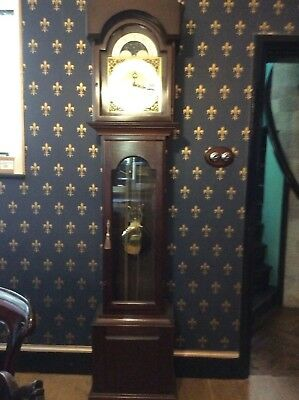 grandfather clock solid mahogany Westminster chimes 8 day