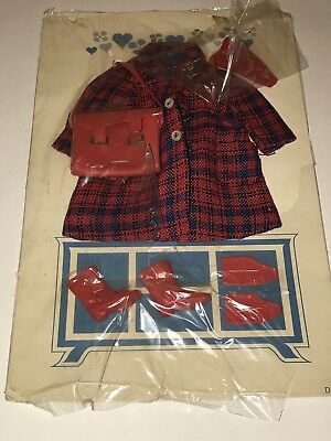 Vtg 1963 REMCO LIBBY LITTLECHAP Red Plaid Coat Outfit Accessries NEW Doll #1303