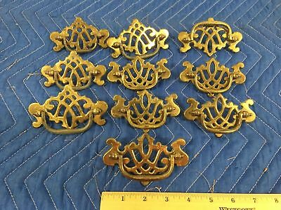 Lot of 10 Vintage Hardware Brass Batwing Crown Drawer Pulls Estate Find