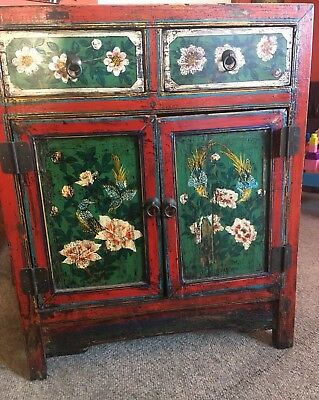 Antique Mongolian Handpainted Cabinet Asian Chinese