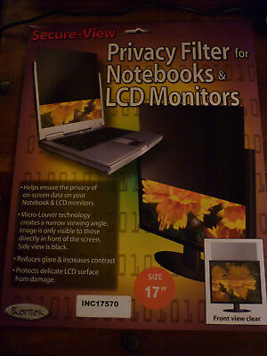 """Kantek Secure-View® Blackout Privacy Filter - Fits 17"""" Notebooks & LCD Monitors"""