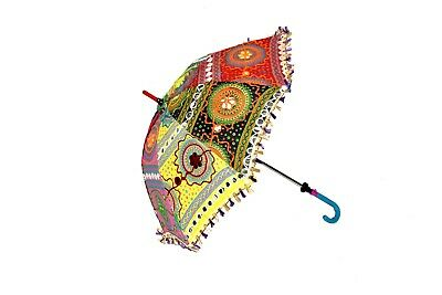 Indian Mirror Work Summer Traditional Umbrella Beautiful Hand Embroidery Parasol
