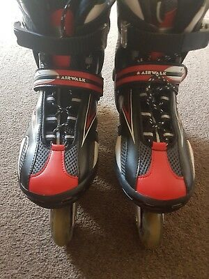 Airwalk Black/Red Pro Inline Skates  Size 8(  Been Used Once) RRP £99