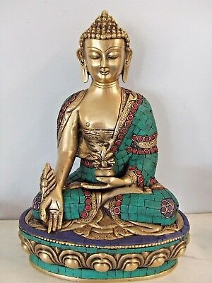 12 Tibet Buddhism Turquoise Coral Gilt Seat Menla Medicine Medical Buddha Statue