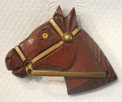 EXCELLENT condition vintage carved wood horse brooch, Retro Deco Cowboy Western