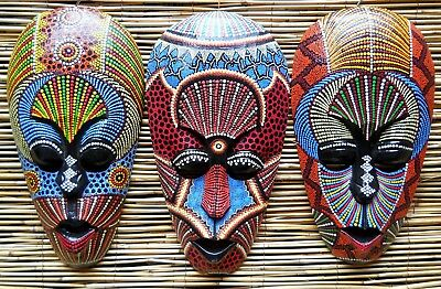 Amazing Coloured Wooden Mexican Mask 30 cm Wall New Decor Multi Colour Various
