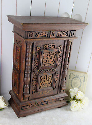 Exclusive French 1950 Wood carved Apothecary bathroom Kitchen cabinet shelf