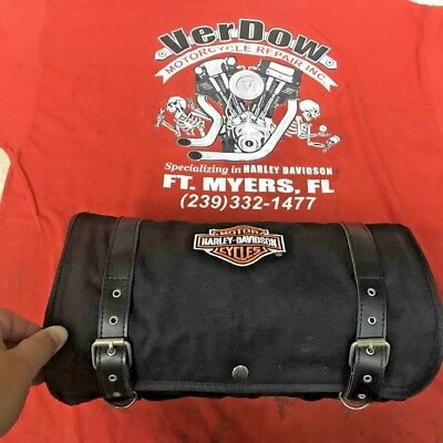 HARLEY DAVIDSON GENUINE Black Canvas Roll Up Travel Bag And 8 Pouch  Organizer