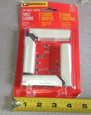 NOS 2-Pack Wiremold Raceway On-Wall Metal Heavy Duty Twist Elbows Ivory B13-14