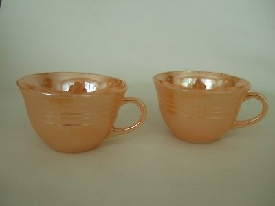 2 Fire King 1951-60 peach luster ware ribbed cups