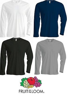 Men's T Shirt Long Sleeve FRUIT OF THE LOOM T Shirt Crew Neck T Shirt SS069