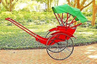 Red Taxi Cab / Hong Kong Pulled Rickshaw / Green Canopy / Single-Passenger RARE