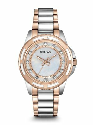 Bulova Womens 98P134 Silver/Rose Gold Watch w/ Diamonds & Mother of Pearl Dial